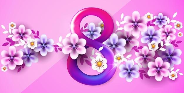 Bannière de la journée des femmes du 8 mars avec des fleurs