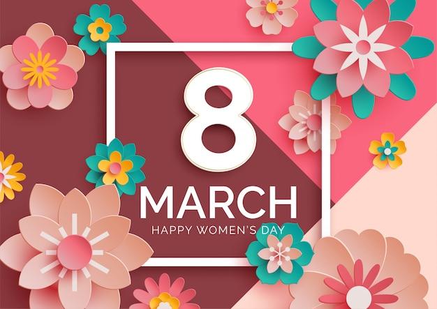 Bannière de la journée des femmes avec des fleurs en papier 3d