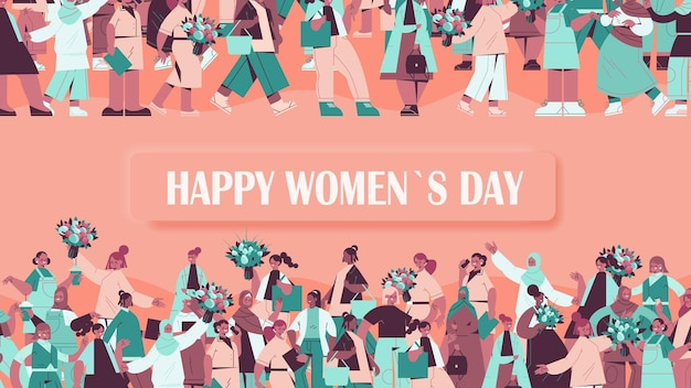 Bannière de la journée des femmes heureux