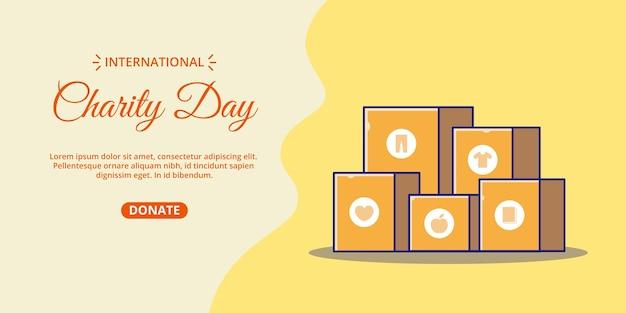 Bannière de la journée internationale de la charité avec illustration de dessin animé de boîte de dons empilables.