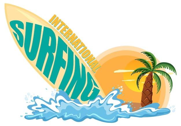 Bannière de la journée internationale du surf avec des éléments de planche de surf et de plage isolés