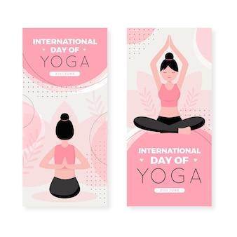 Bannière de la journée internationale du yoga au design plat