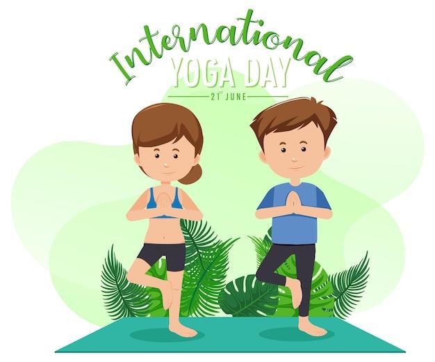 Bannière de la journée internationale du yoga avec un couple faisant des exercices de yoga