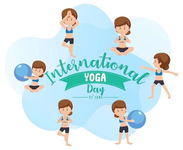 Bannière de la journée internationale du yoga avec une femme faisant différentes poses de yoga