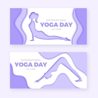 Bannière de la journée internationale du yoga en papier