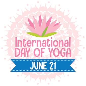 Bannière de la journée internationale du yoga avec signe de lotus rose