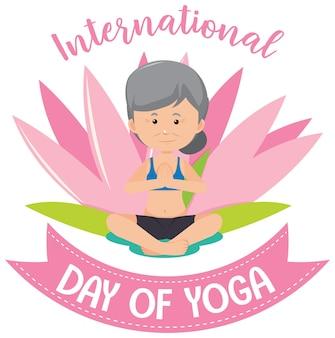 Bannière de la journée internationale du yoga avec une vieille femme faisant une pose de yoga