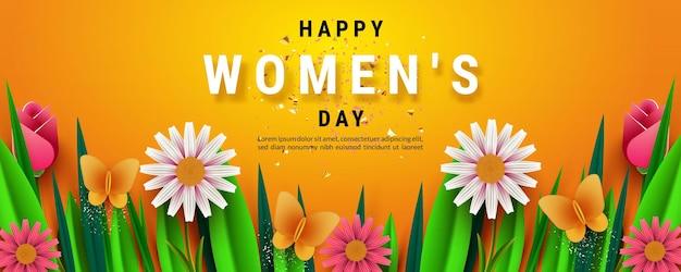 Bannière de la journée internationale de la femme, avec de belles fleurs