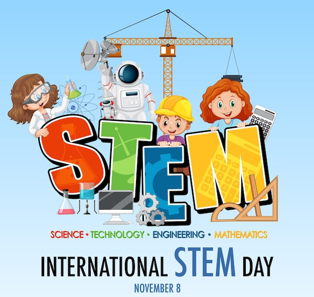 Bannière de la journée internationale des stem avec personnage de dessin animé pour enfants