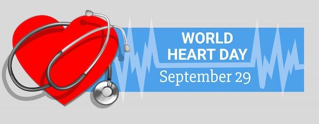 Bannière de la journée mondiale du cœur, style cartoon