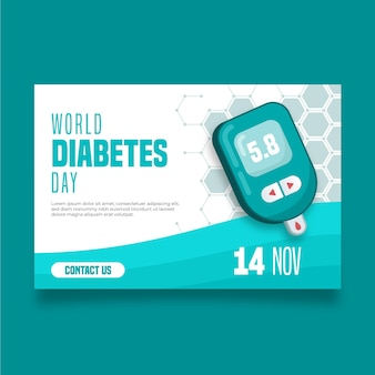 Bannière de la journée mondiale du diabète avec date