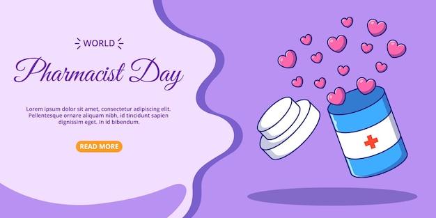 Bannière de la journée mondiale du pharmacien bouteille ouverte d'icône de dessin animé plat d'amour illustration.