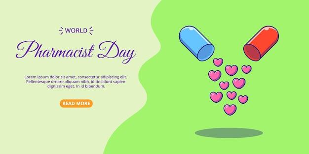 Bannière de la journée mondiale du pharmacien capsule ouverte de l'illustration de l'icône de dessin animé plat d'amour.