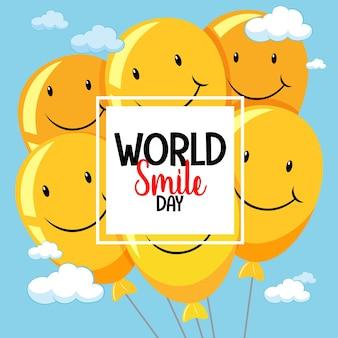 Bannière de la journée mondiale du sourire avec des ballons