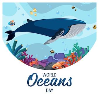 Bannière de la journée mondiale de l'océan avec une baleine sous l'eau avec d'autres animaux marins