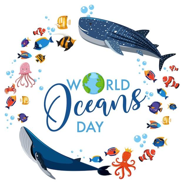 Bannière de la journée mondiale de l'océan avec de nombreux animaux marins différents sur fond blanc
