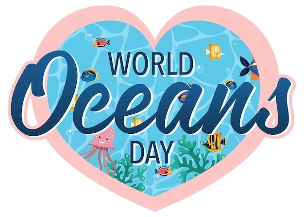 Bannière de la journée mondiale de l'océan avec de nombreux animaux marins différents