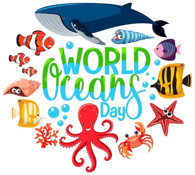 Bannière de la journée mondiale de l'océan avec un personnage de dessin animé d'animaux marins sur fond blanc