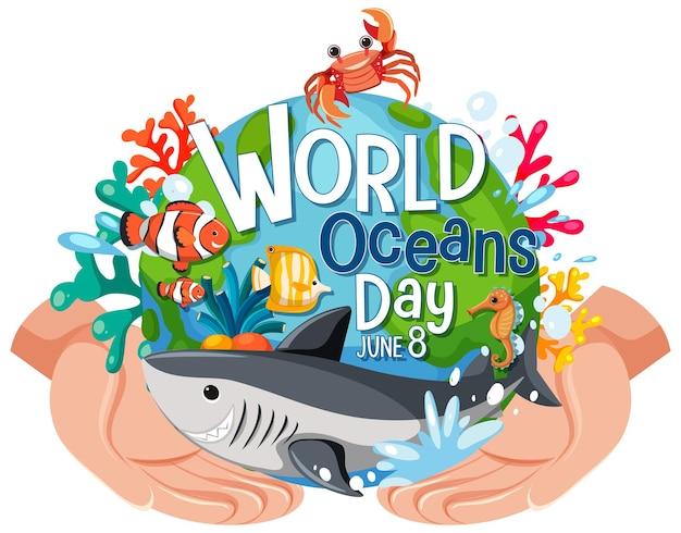 Bannière de la journée mondiale de l'océan avec un personnage de dessin animé d'animaux marins