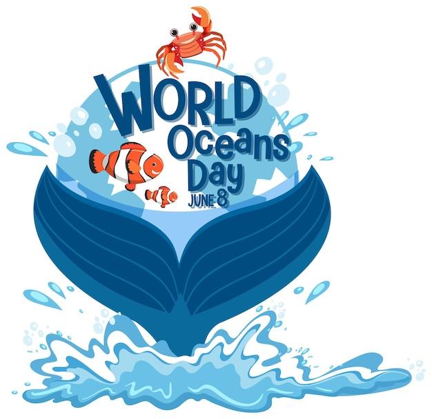 Bannière de la journée mondiale de l'océan avec queue de baleine isolée