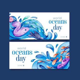 Bannière de la journée mondiale des océans aquarelle