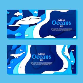 Bannière de la journée mondiale des océans dans un style papier