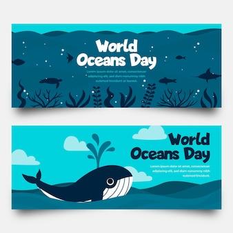 Bannière de la journée mondiale des océans design plat