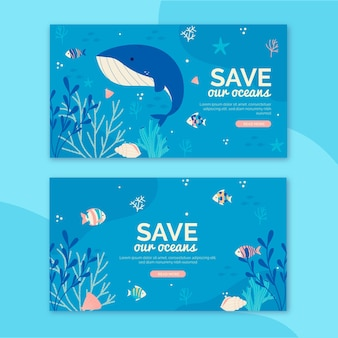Bannière de la journée mondiale des océans dessinée à la main