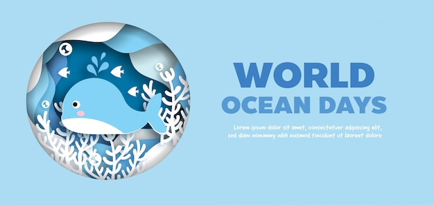Bannière de la journée mondiale des océans avec un mignon dauphin dans un style de papier découpé.