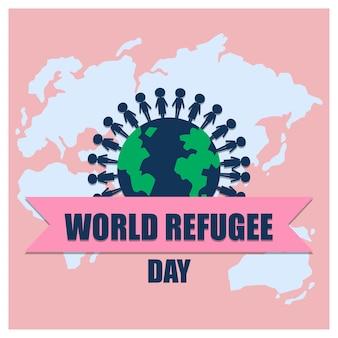 Bannière de la journée mondiale des réfugiés avec des gens du monde entier sur fond de carte du monde