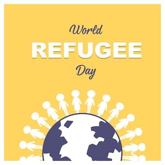 Bannière de la journée mondiale des réfugiés avec des gens du monde entier