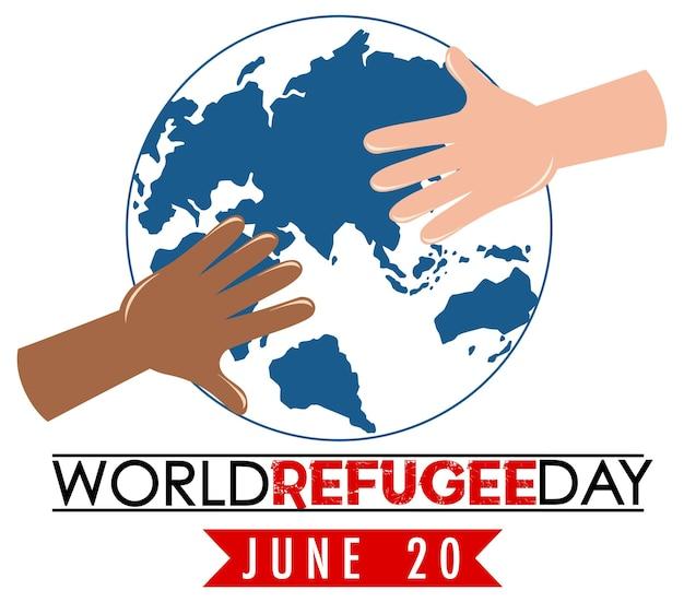 Bannière de la journée mondiale des réfugiés avec les mains sur le signe du globe