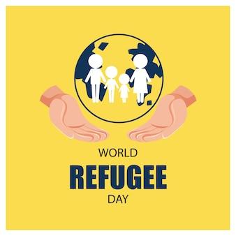 Bannière de la journée mondiale des réfugiés avec des personnes signant sur le globe