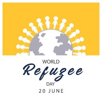 Bannière de la journée mondiale des réfugiés avec des personnes sur le signe du globe