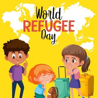 Bannière de la journée mondiale des réfugiés avec des réfugiés sur fond de carte du monde