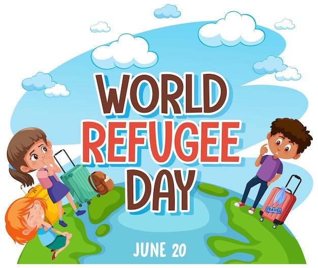 Bannière de la journée mondiale des réfugiés avec des réfugiés sur le globe