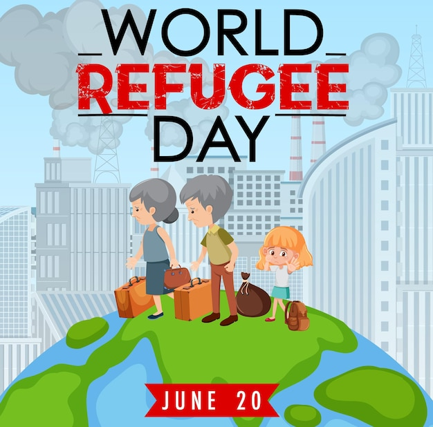 Bannière de la journée mondiale des réfugiés avec des réfugiés marchant sur un globe