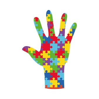 Bannière de la journée mondiale de sensibilisation à l'autisme avec assemblage à la main à partir de pièces de puzzle puzzle multicolore