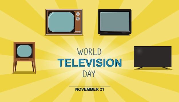 Bannière de la journée mondiale de la télévision variations de téléviseurs vectoriels techniques rétro pour le 21 novembre
