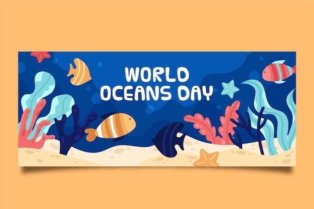 Bannière de la journée des océans du monde plat biologique