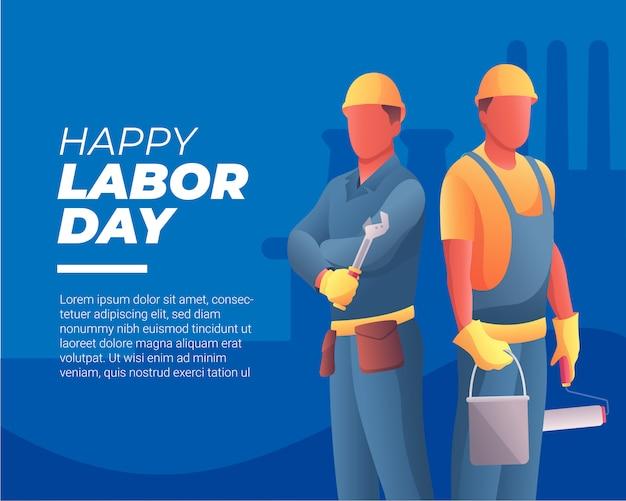 Bannière joyeuse fête du travail avec deux travailleurs