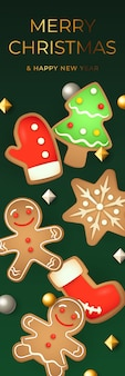 Bannière joyeuse de noël avec des biscuits de pain d'épice
