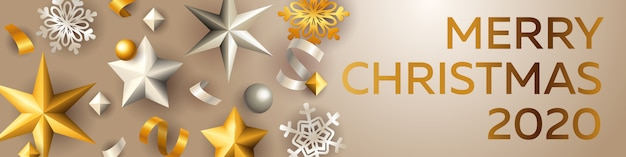 Bannière joyeuse de noël avec des étoiles d'argent et d'or
