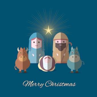 Bannière joyeuse de noël avec marie et joseph avec bébé jésus