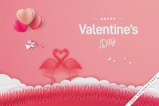 Bannière joyeuse saint valentin avec amour flamant rose avec ballon et champ