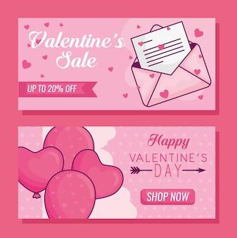 Bannière joyeuse saint valentin sertie de ballons coeurs et enveloppe