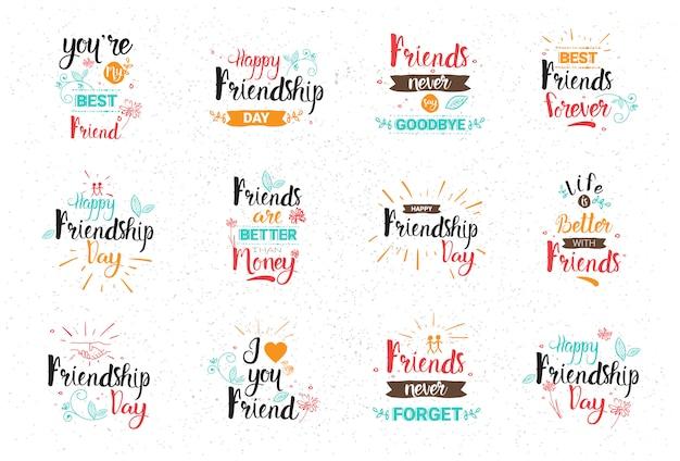 Bannière de joyeux anniversaire logo ensemble de cartes de voeux collection amis de vacances