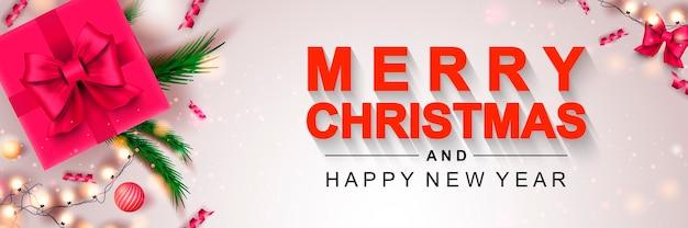Bannière joyeux noël 2022 affiche de célébration de vacances de noël et du nouvel an cadeau de décor festif