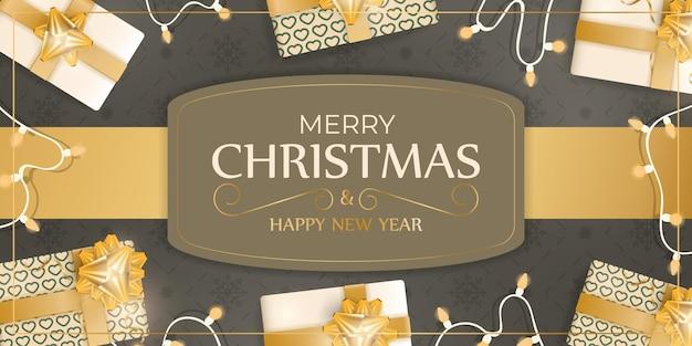 Bannière joyeux noël et bonne année de couleur marron. fond avec des cadeaux, des guirlandes et des ampoules. illustration vectorielle.