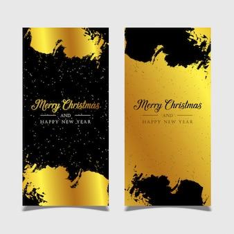 Bannière joyeux noël avec fond doré et noir